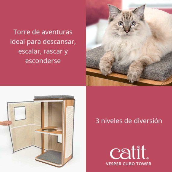 Catit Vesper Cubo Tower - Torre de aventuras ideal para descansar, escalar, rascar y esconderse y 3 niveles de diversion