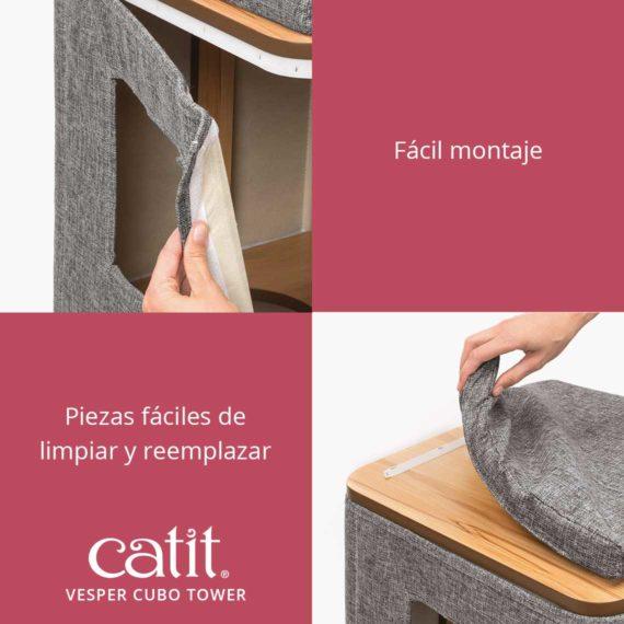 Catit Vesper Cubo Tower - Fácil montaje y Piezas fáciles de limpiar y reemplazar