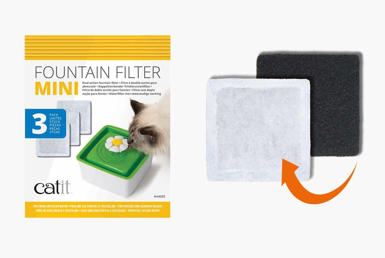 Filtro de doble acción para la fuente para gatos Mini Flower Fountain
