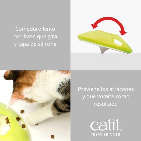 Catit Treat Spinner - Comedero lento con base que gira y tapa de silicona y Previene los atracones y que vomite como resultado