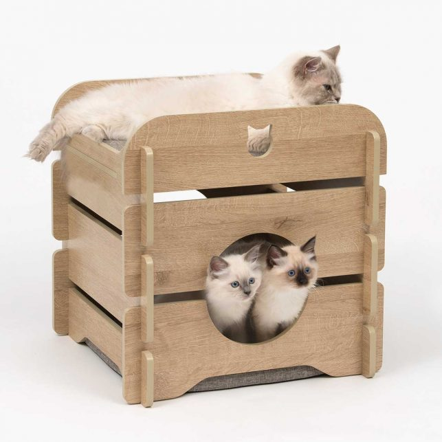The Vesper Cottage is a cubical piece of cat furniture in a romantic cottage style