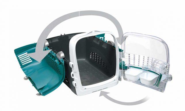 Diseño accesible exclusivo de 360° para colocar a tu gato dentro con un mecanismo de bloqueo seguro usando una sola mano
