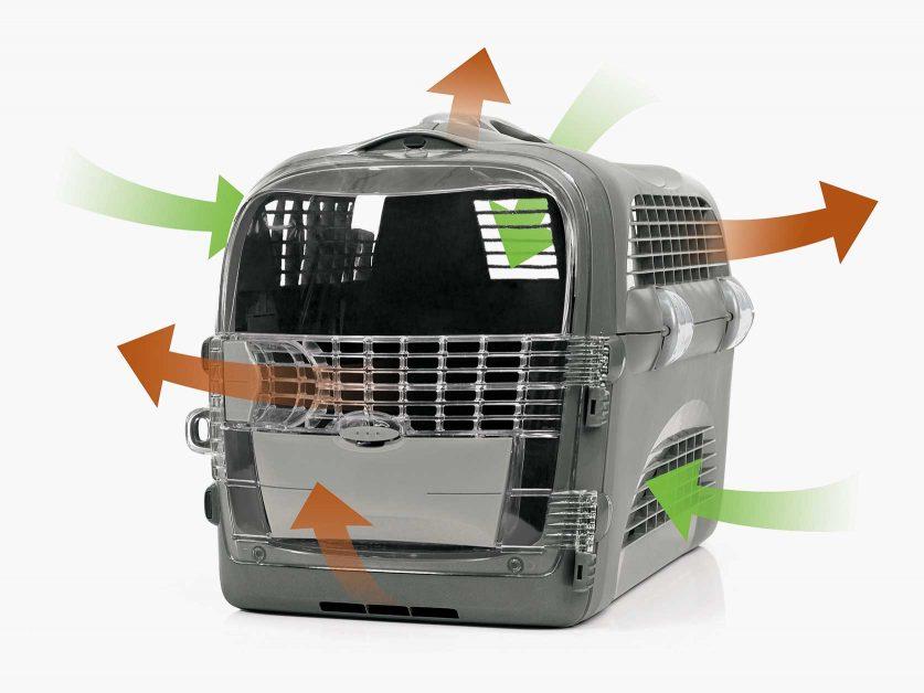 El flujo de aire y la ventilación óptimas mantienen a tu gato cómodo mientras viaja