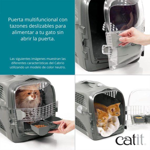 Puerta multifuncional con tazones deslizables para alimentar a tu gato sin abrir la puerta