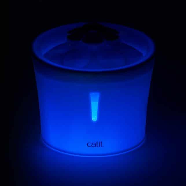 Fuente para gatos Catit Flower Fountain LED de noche