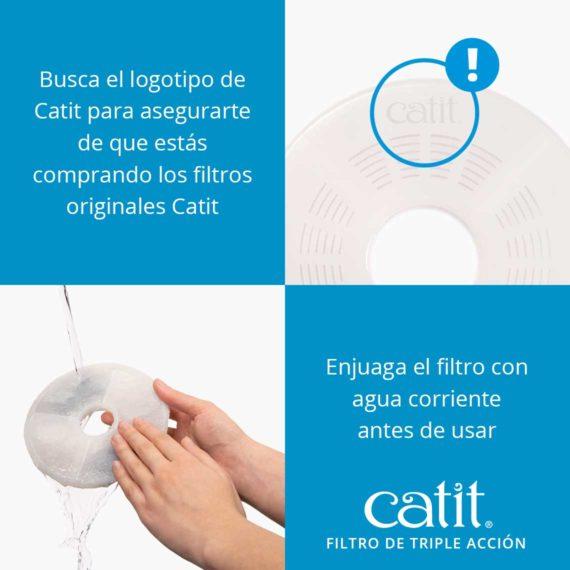 Catit Filtro de triple acción - Busca el logotipo de Catit para asegurarte de que estás comprando los filtros originales Catit. Enjuaga el filtro con agua corriente antes de usar.