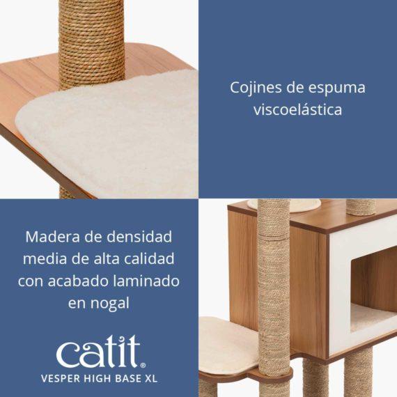 Catit Vesper High Base XL - Cojines de espuma viscoelástica y madera de densidad media de alta calidad con acabado laminado en nogal