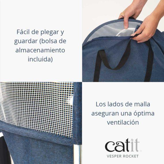 Facil de plegar y guardar (bolsa de almacenamiento incluida). Los lados malla aseguran una optima ventilacion