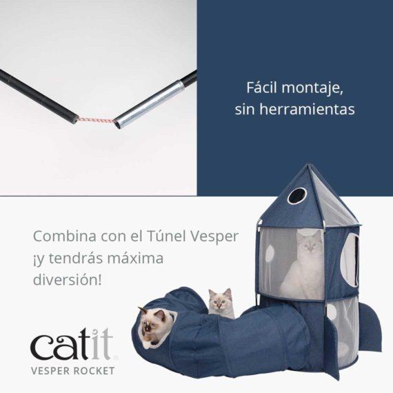 Catit Vesper Rocket - Fácil montaje, sin herramientas y Combina con el Túnel Vesper ¡y tendrás máxima diversión!