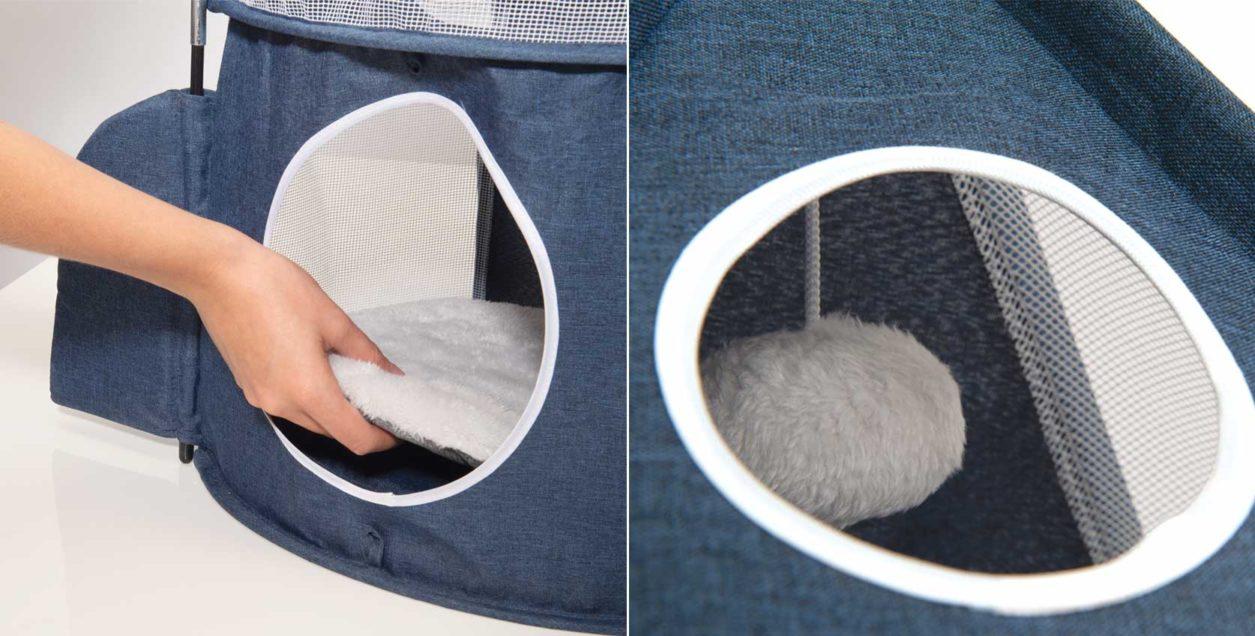 El Vesper Rocket de Catit presenta un cómodo cojín para hacer una siesta bien merecida después de jugar. Incluye una pelota acolchada colgada de una cuerda, para que tu gato juegue con ella.