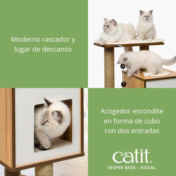 Catit Vesper Base - Moderno rascador y lugar de descanso y acogedor escondite en forma de cubo con dos entradas