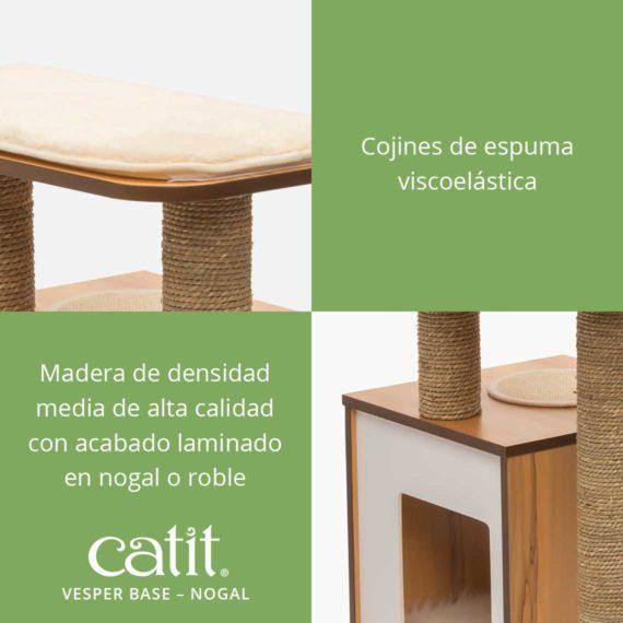 Catit Vesper Base - Cojines de espuma viscoelástica y madera de densidad media de alta calidad con acabado laminado en nogal o roble