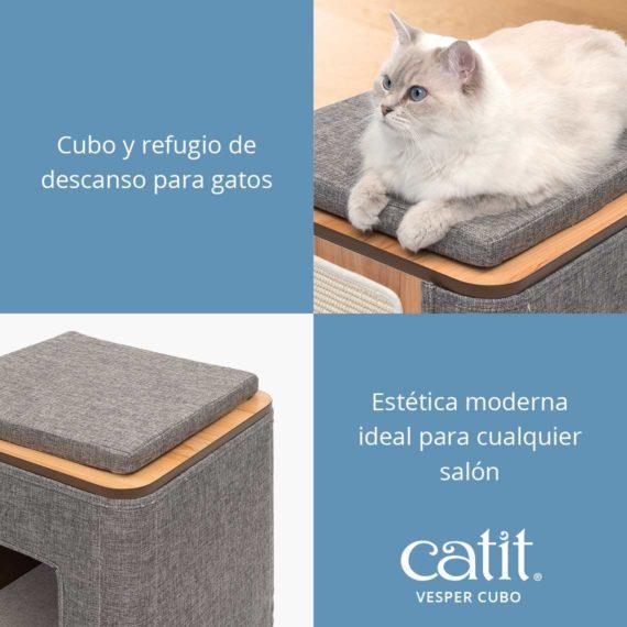 Catit Vesper Cubo - Cubo y refugio de descanso para gatos y Estética moderna ideal para cualquier salón
