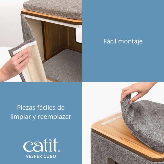 Catit Vesper Cubo - Fácil montaje y Piezas fáciles de limpiar y reemplazar