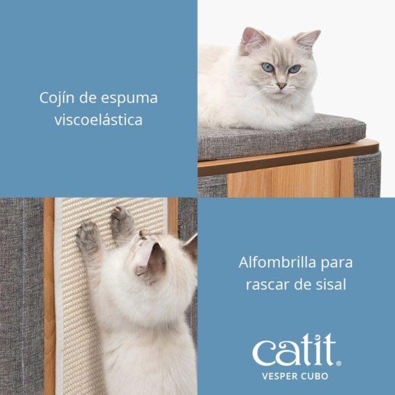 Catit Vesper Cubo - Cojín de espuma viscoelástica y Alfombrilla para rascar de sisal