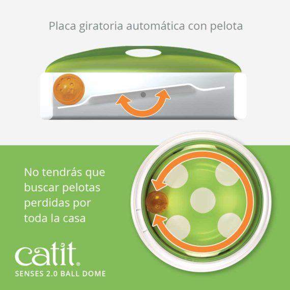 Catit Senses 2.0 Ball Dome - Placa giratoria automática con pelota. No tendrás que buscar pelotas perdidas por toda la casa