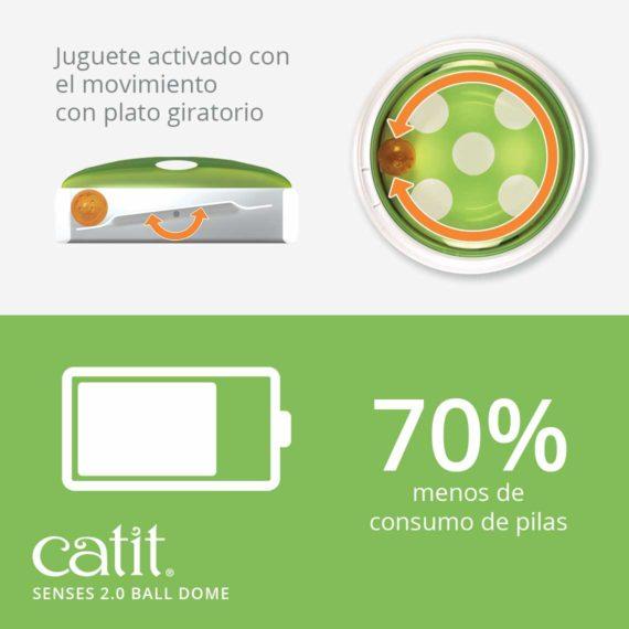 Juguete interactivo para gatos activado con el movimiento con plato giratorio - 70% menos de consumo de pilas