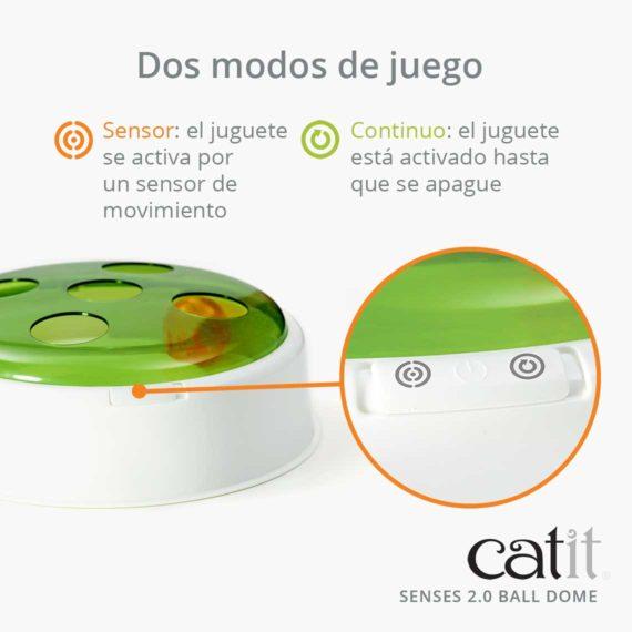Catit Senses 2.0 Ball Dome - Dos modos de juego Sensor: el juguete se activa por un sensor de movimiento Continuo: el juguete está activado hasta que se apague