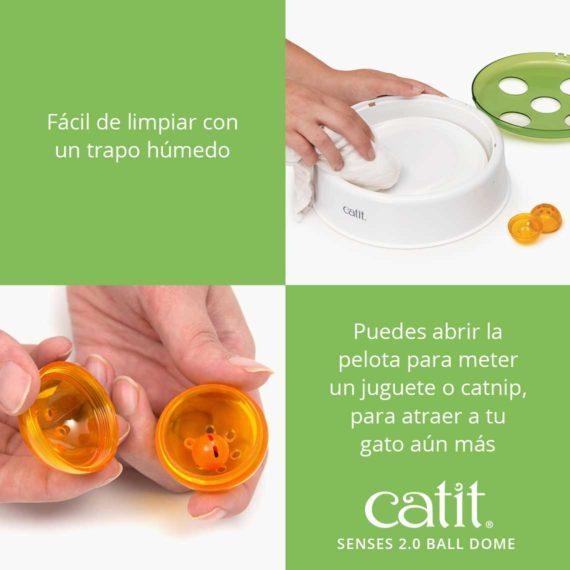 Facil de limpiar con un trapo humedo - Puedes abrir la pelota para meter un jaguette o catnip, para atraer a tu gato aun mas