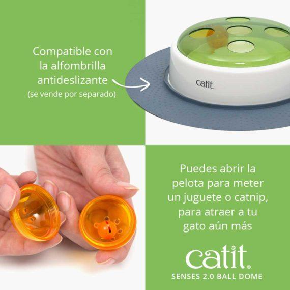 Catit Senses 2.0 Ball Dome - Compatible con la alfombrilla antideslizante (se vende por separado). Puedes abrir la pelota para meter un juguete o catnip, para atraer a tu gato aún más