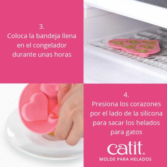 Coloca la bandeja llena en el congelador durante unas horas. Presiona los corazones por el lado de la silicona para sacar los helados para gatos