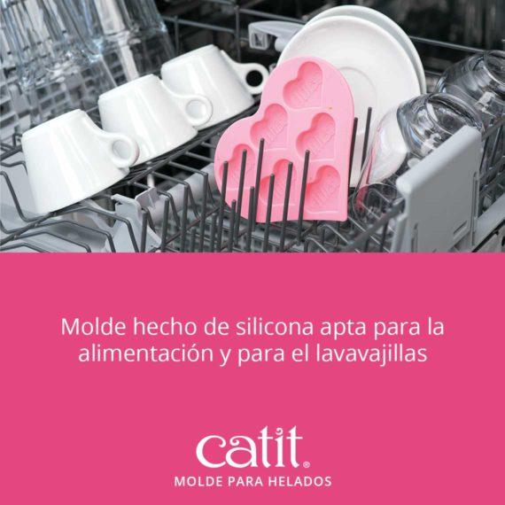 Molde hecho de silicona apta para la alimentación y para el lavavajillas.