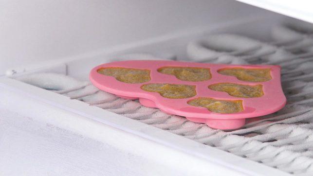 3. Coloca la bandeja llena en el congelador durante unas horas.