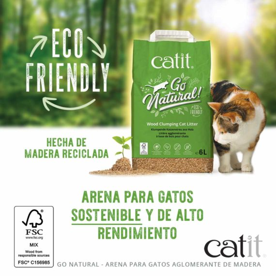 Hecha de madera reciclada - arena para gatos sostenible y de alto rendimiento