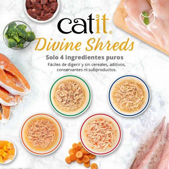 Catit Divine Shreds - Pollo - Solo 4 ingredientes puros - Fáciles de digerir y sin cereales, aditivos, conservantes ni subproductos
