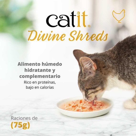 Catit Divine Shreds - Pollo - Alimento húmedo hidratante y complementario - Rico en proteínas, bajo en calorías