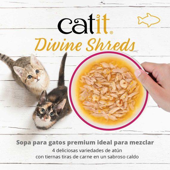 Catit Divine Shreds - Sopa para gatos premium ideal para mezclar - 4 deliciosas variedades de atún con tiernas tiras de carne en un sabroso caldo