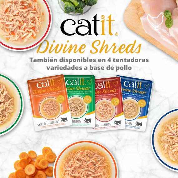 Catit Divine Shreds - También disponibles en 4 tentadoras variedades a base de pollo