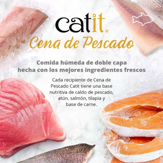 Catit Cena de Pescado - Comida húmeda de doble capa hecha con los mejores ingredientes frescos