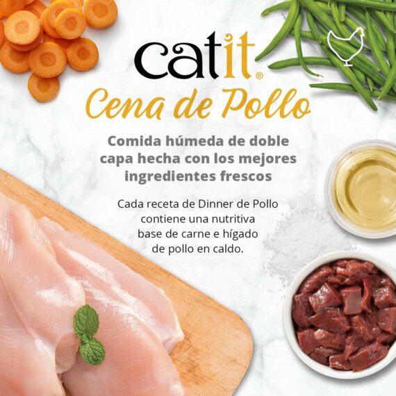 Catit Cena de Pollo - Comida húmida de doble capa hecha con los mejores ingredientes frescos
