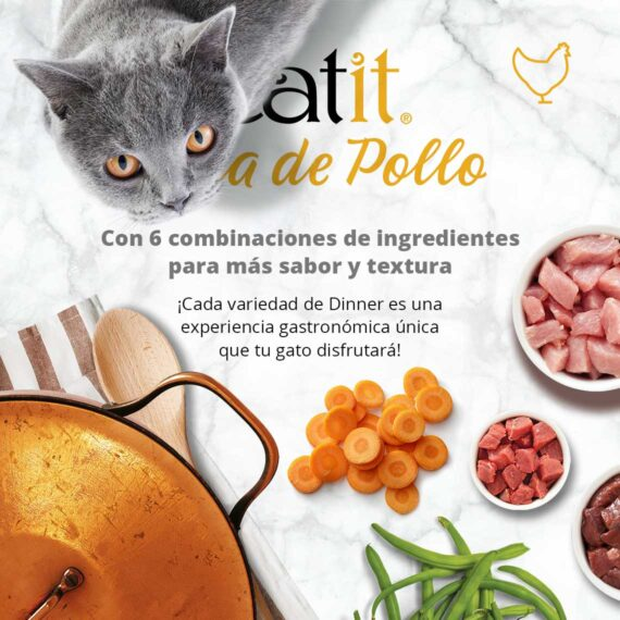 Catit Cena de Pollo - Con 6 combinaciones de ingredientes para más sabor y textura