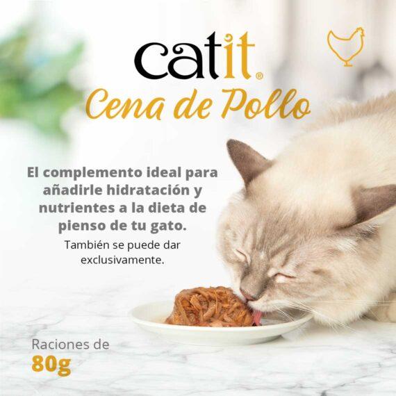 Catit Cena de Pollo - El complemento ideal para añadirle hidratación y nutrientes a la dieta de pienso de tu gato