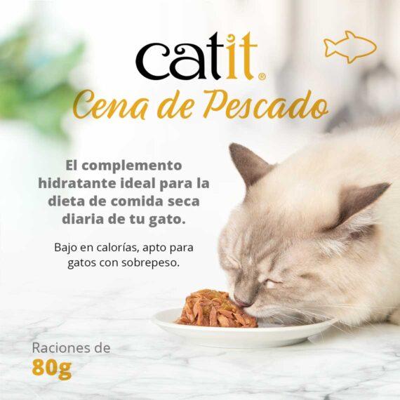 Catit Cena de Pescado - El complemento hidratante ideal para la dieta de comida seca diaria de tu gato