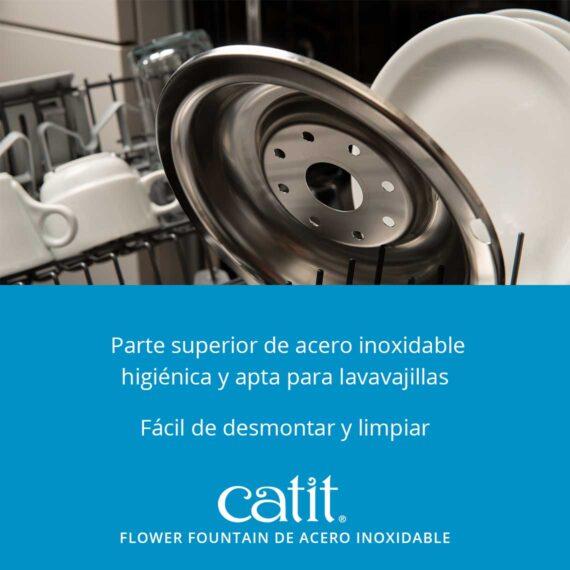 Flower fountain de acero inoxidable - Parte superior de acero inoxidable higiénica y apta para lavavajillas. Fácil de desmontar y limpiar