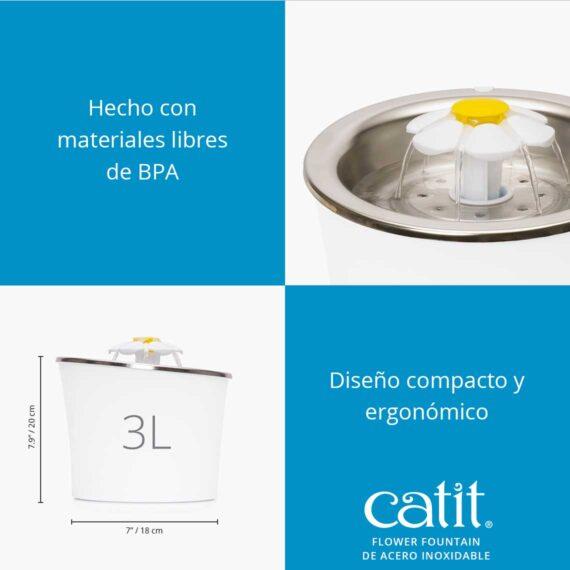 Flower fountain de acero inoxidable - Hecho con materiales libres de BPA. Diseño compacto y ergonómico
