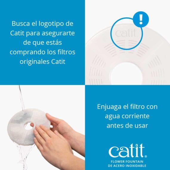 Flower fountain de acero inoxidable - Busca el logotipo de Catit para asegurarte de que estás comprando los filtros originales Catit. Enjuaga el filtro con agua corriente antes de usar