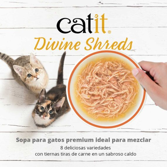Catit Divine Shreds Multipacks - Sopa para gatos premium ideal para mezclar. 8 deliciosas variedades con tiernas tiras de carne en un sabroso caldo